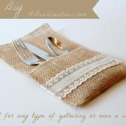 Easy #DIY+Tutorial for Creating Burlap & Lace Utensil Holders