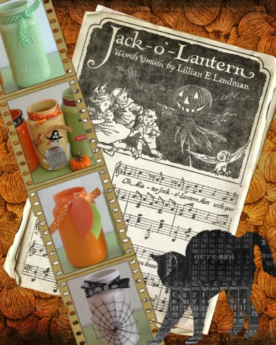 Collage with Mason Jar Crafts for Halloween and Fall - Grab the craft ideas at DearCreatives.com
