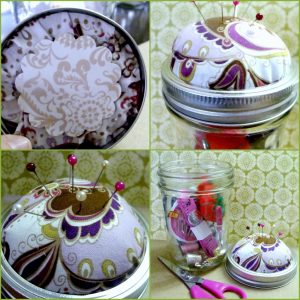 Mason Jar Sewing Kit - how to make a mason jar sewing kit with a pincushion lid. DearCreatives.com