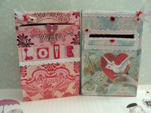 Valentine's Day mailboxes - love and romantic - decorated with pretty scrapbook papers and embellishments. DearCreatives.com