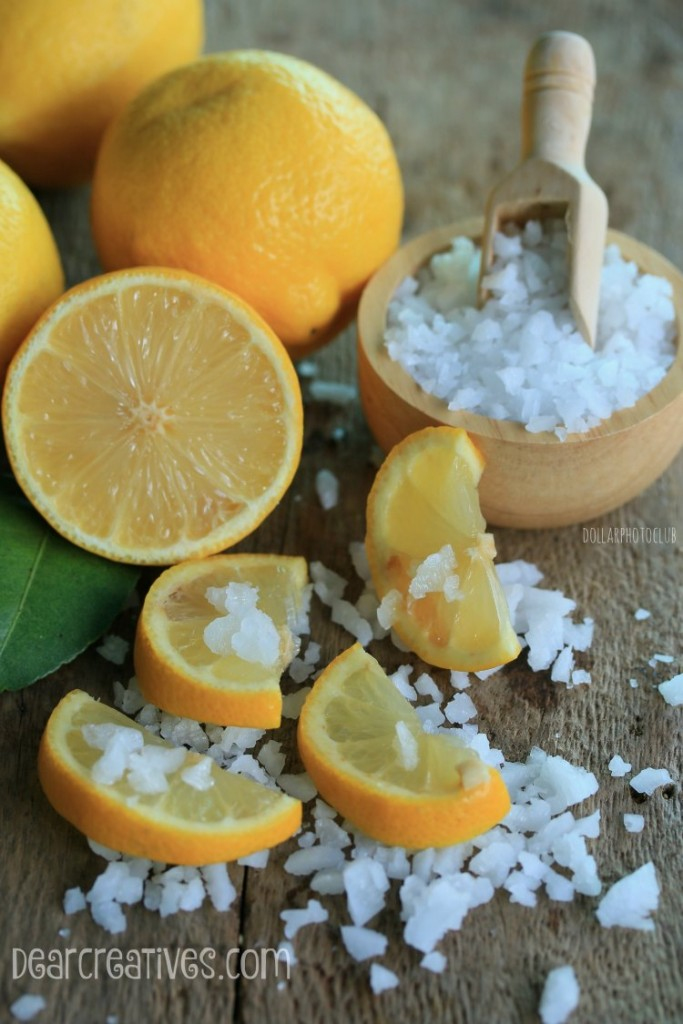 Natural Beauty Tips |Lemons and sea salt for making a lemon scrub