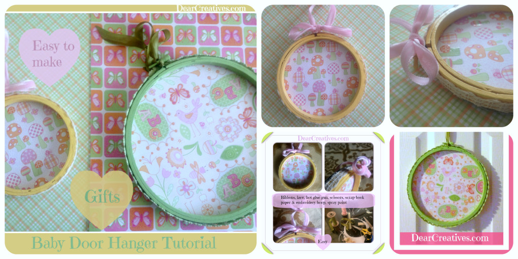 Baby Gift idea & tutorial, decorated embroidery hoop, nursery decor