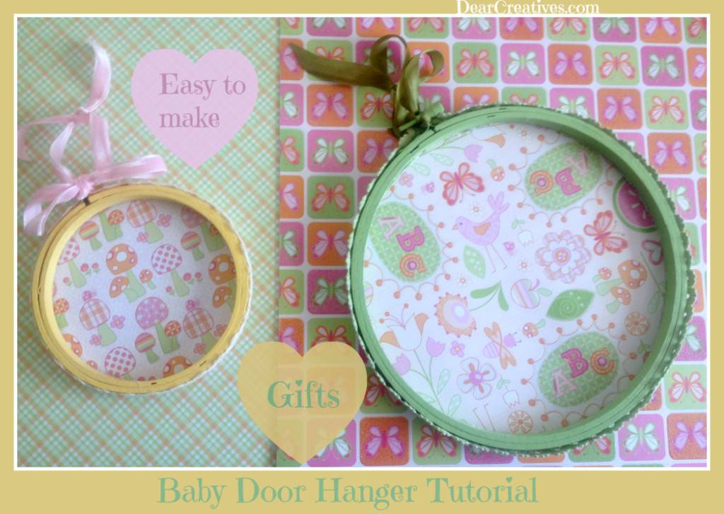 handmade baby shower gifts, decorated embroidery hoop tutorial