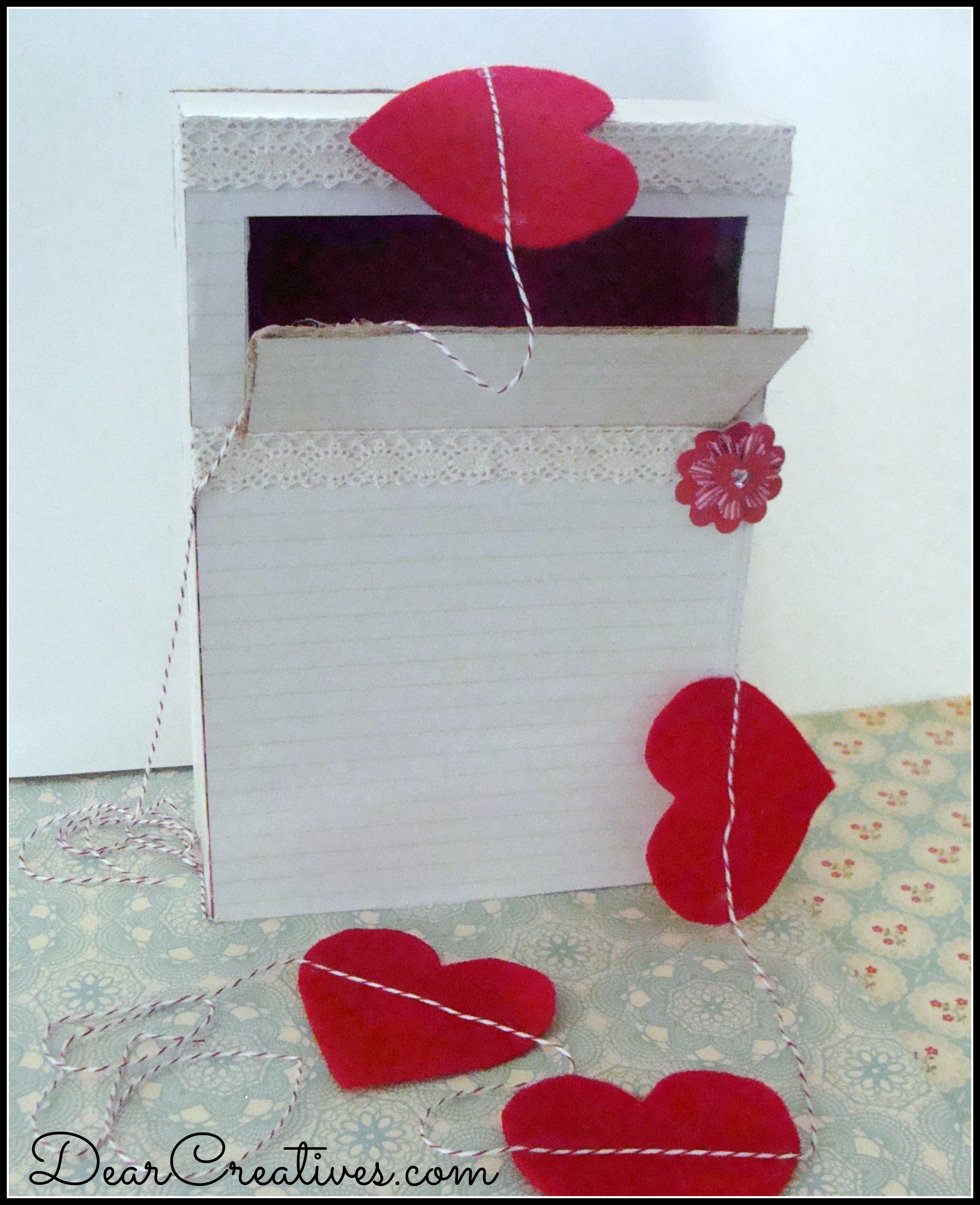 Valentine box & hearts, felt hearts banner
