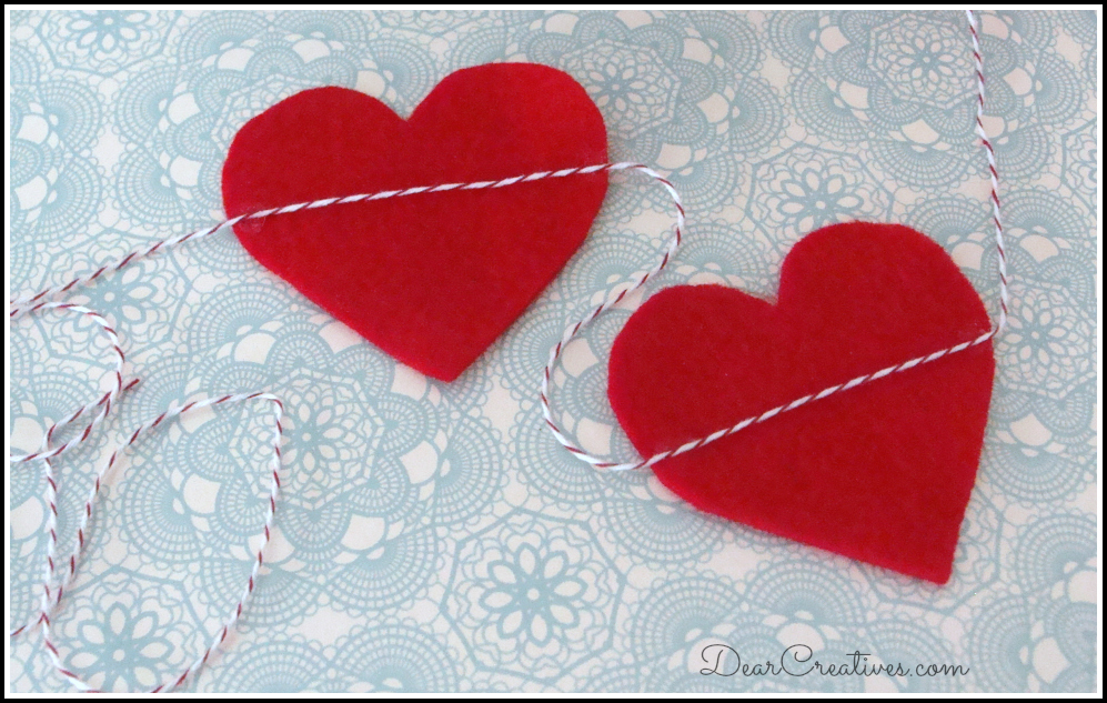 hearts banner with twine