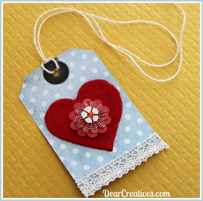 Blue Gift Tag with red heart cotton lace string ties