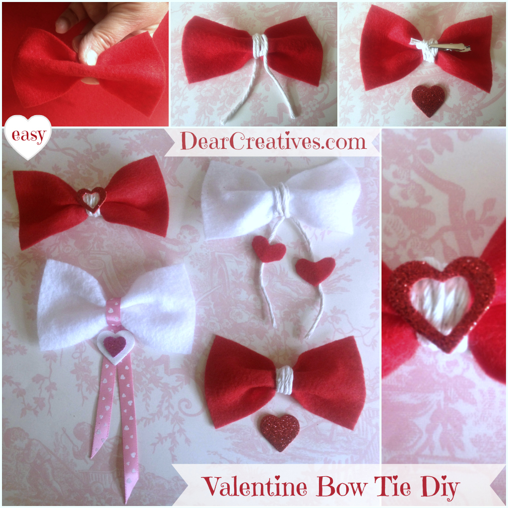 Felt bow ties, Valentines Day Diy, Crafting, Crafts,Felt Valentine Bow Ties Diy, DearCreatives.com