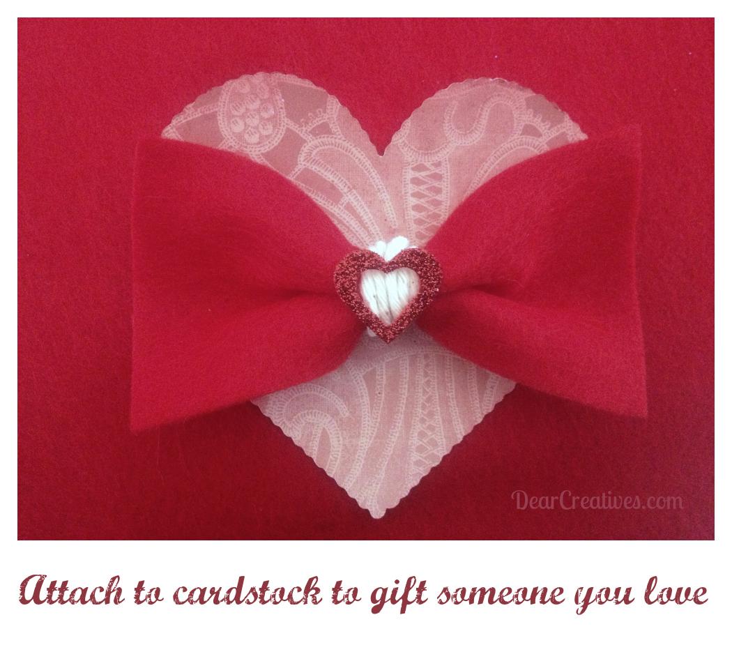 valentine heart felt bow tie felt bow tie on valentine heart crafts - Valentine Ties