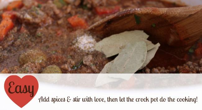 Add spices into picadillo, picadillo,Theresa Huse 2013-0992