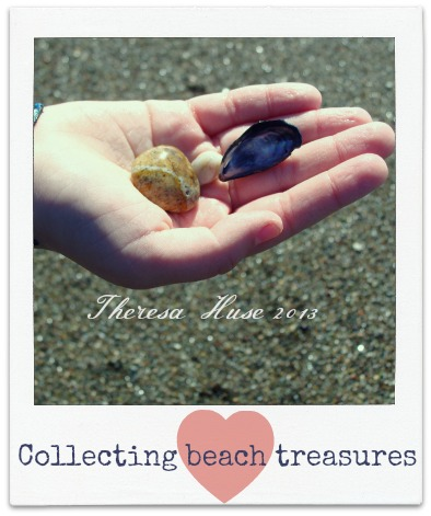 Collecting Beach Treasures, Hand with sea shells and rocks, Theresa Huse 2013-03228