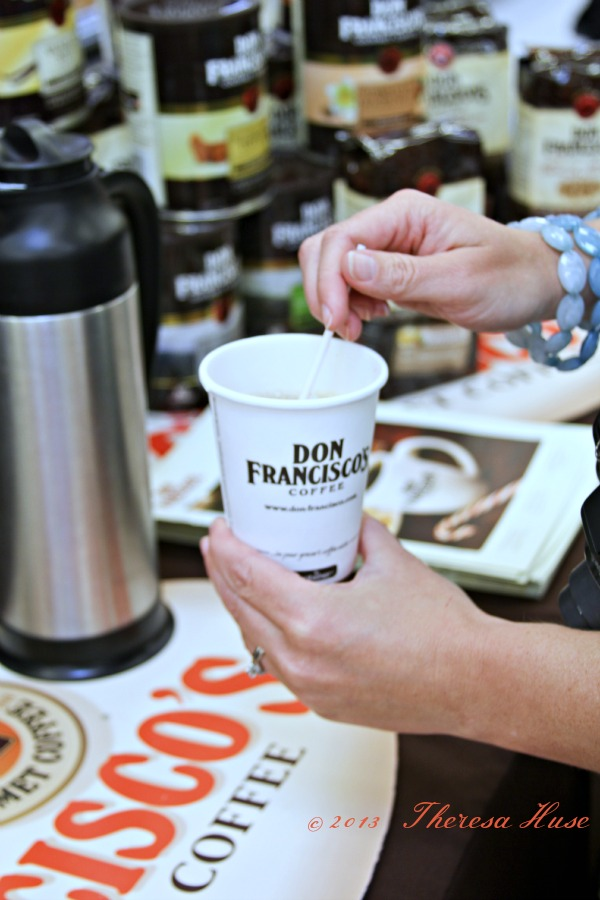 Smart  and Final, Don Franciscos Coffee, hand holding cup of Don Franciscos ,Theresa Huse 2013