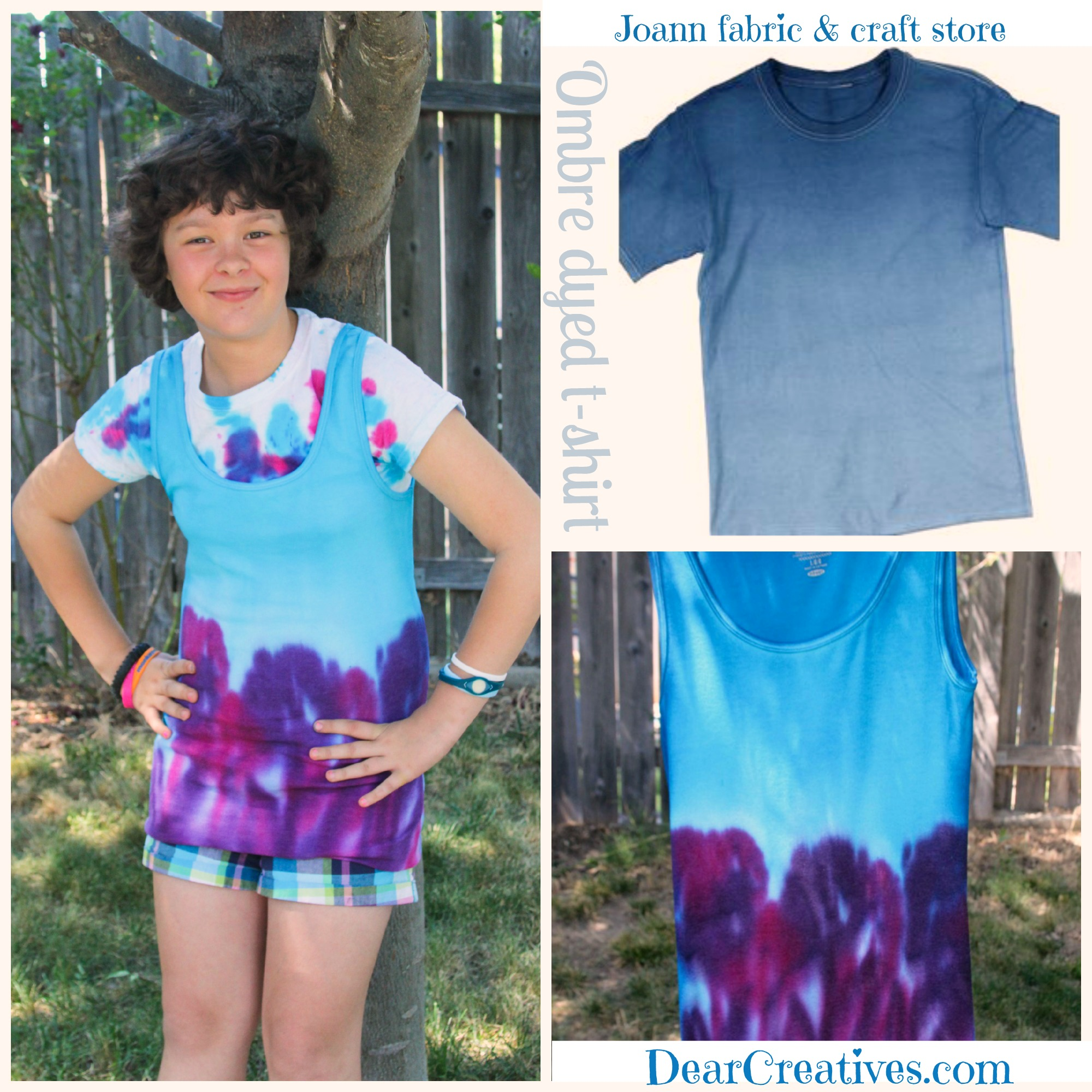 Side By Side Comparison Ombre T-Shirt Joann.com vs Ombre T-Shirt DearCreatives.com , girl wearing tie dyed t-shirt  © 2013 Theresa Huse