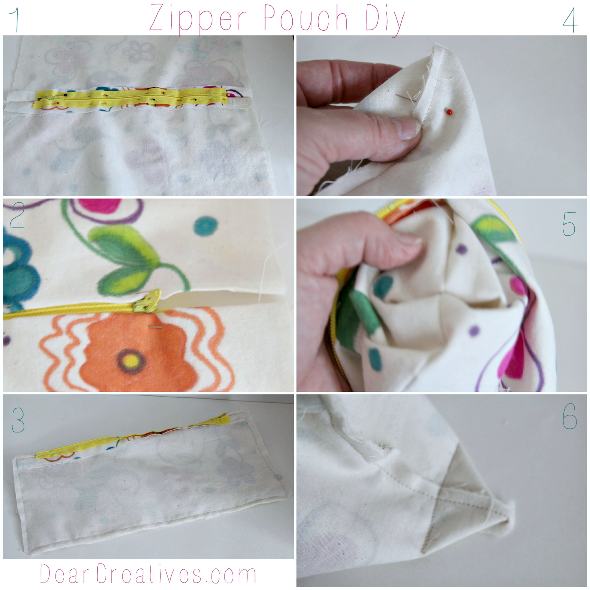 Step By Step zipper Pouch, DearCreatives.com © 2013 Theresa Huse