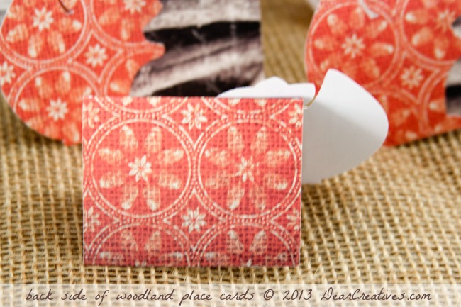 Back side of woodland squirrel place cards_placecards made with cricut_Theresa Huse 2013