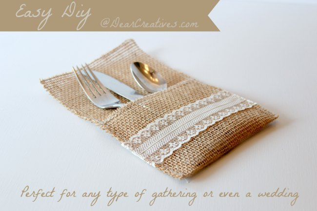 Burlap Utensil Holder DIY | This is a fun and easy fall project for creating a utensil holder for table settings and parties.
