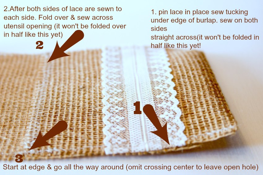 Step by Step how to make burlap utensil holders_Theresa Huse 2013