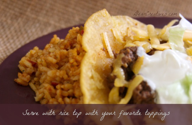 Taco and Mexican Rice on a plate_Theresa Huse 2013