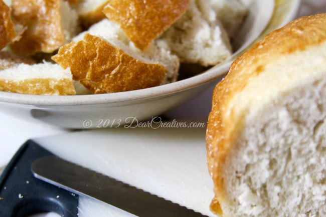 French Bread Cut up in a bowl_ Bread_Theresa Huse 2013