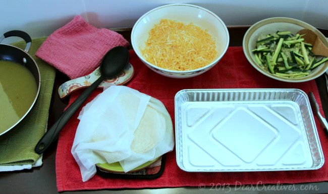 Step by step set up for making enchiladas _Theresa Huse 2013