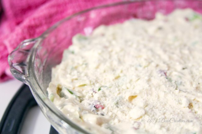 artichoke dip ready to be baked _Theresa Huse 2013