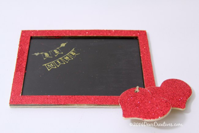 easy valentine's Day DIY - glittered mini chalk board, and wood hearts