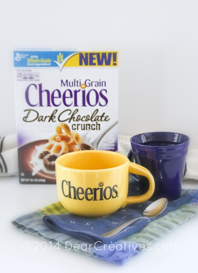 Box of Multi Grain Cheerios Dark Chocolate_bowl-spoon and cup_
