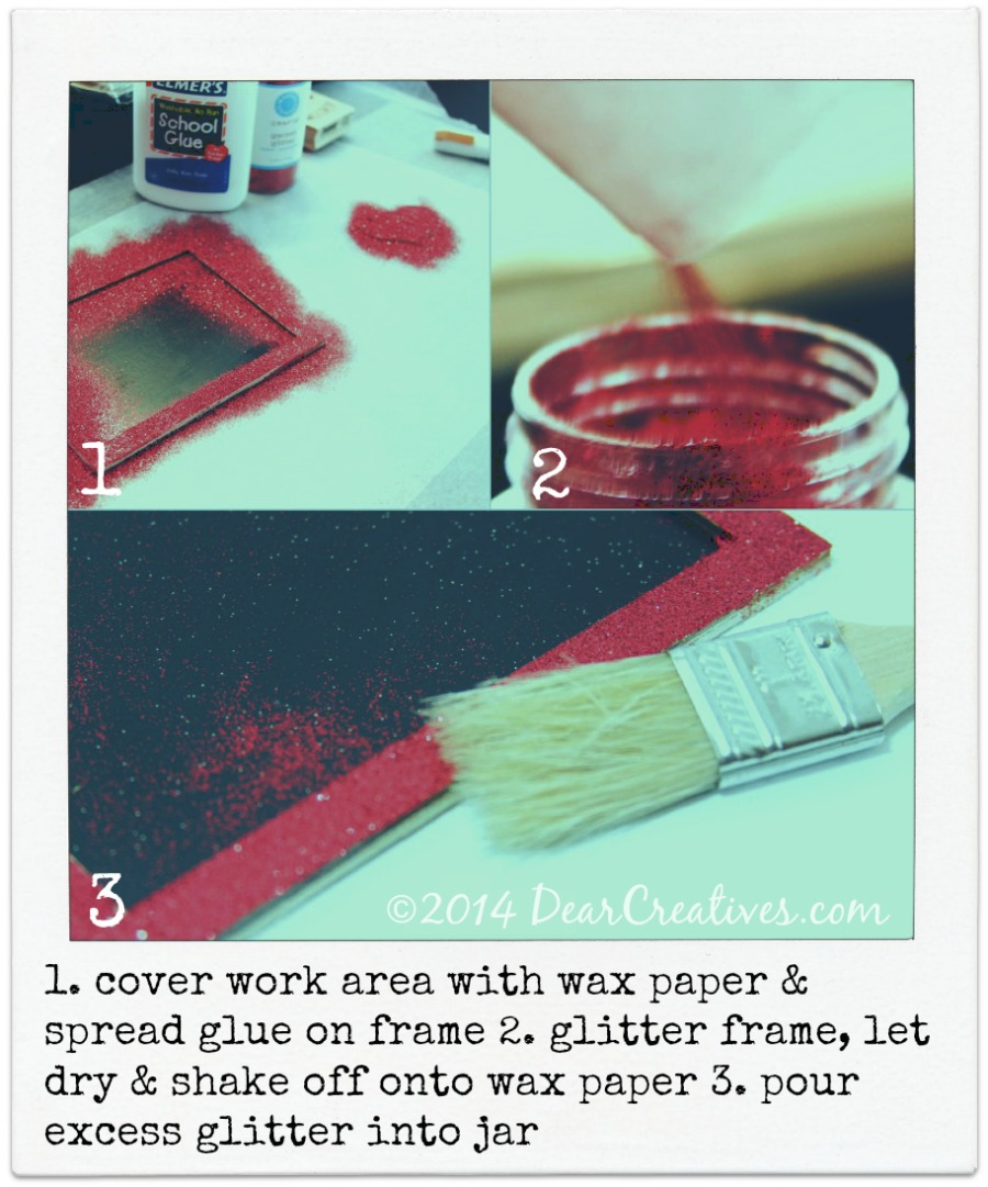 Crafts Valentines Day-Steps for Glittering Frames and hearts_Crafting_ Snapshot_DearCreatives.com 2014