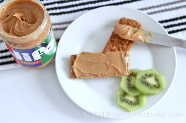 Jif Peanut Butter_granola bars with peanut butter on a plate
