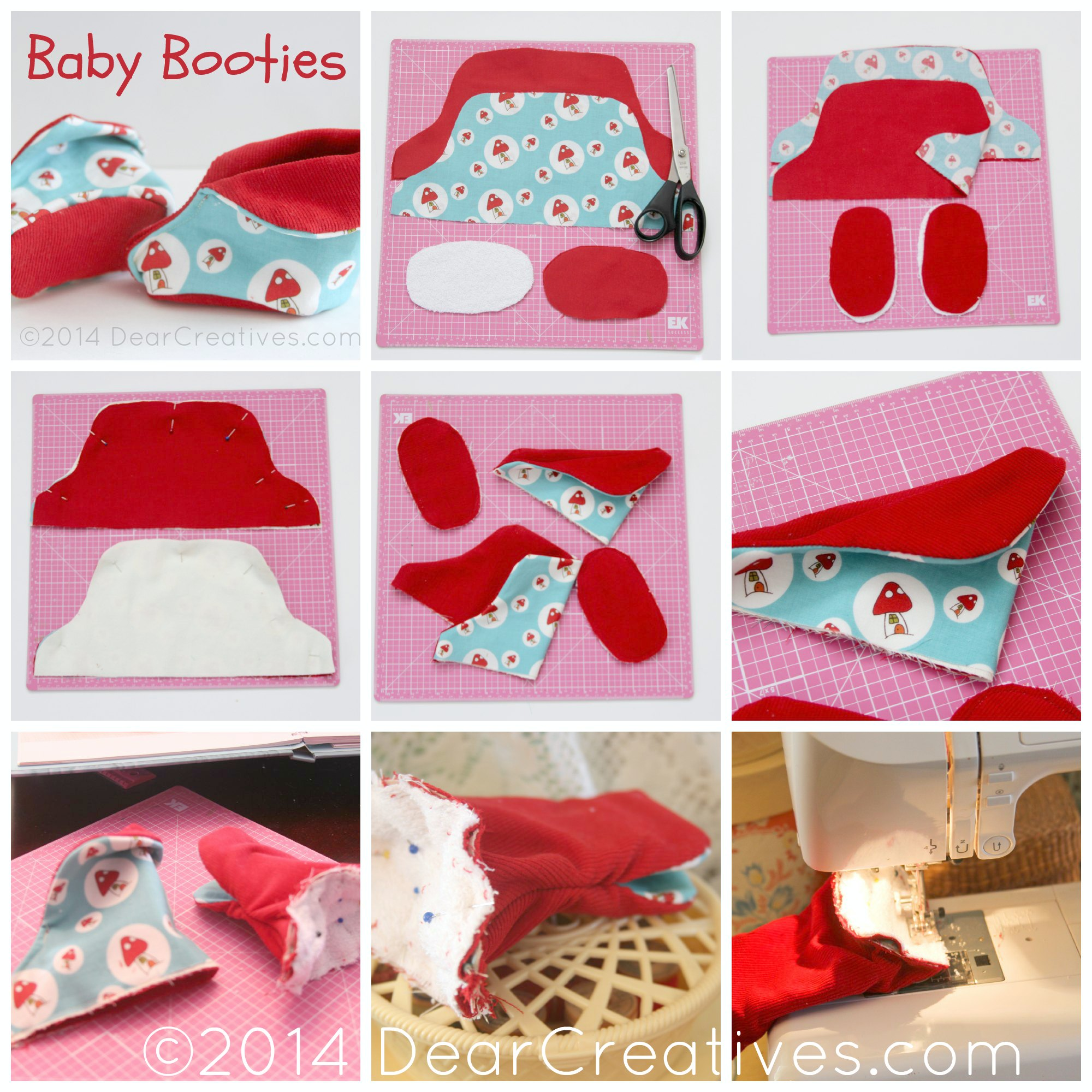 Quick and easy sewing for baby baby booties dear creatives step by step how to sew baby bootiessewingbabysewing patterndearcreatives jeuxipadfo Choice Image
