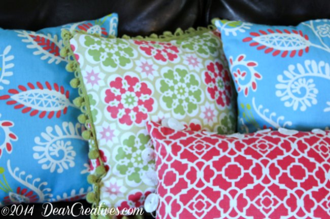 Pillows made with Fabrics from Jo-Ann Fabrics and Crafts_Floral and Geometric fabric pillows_
