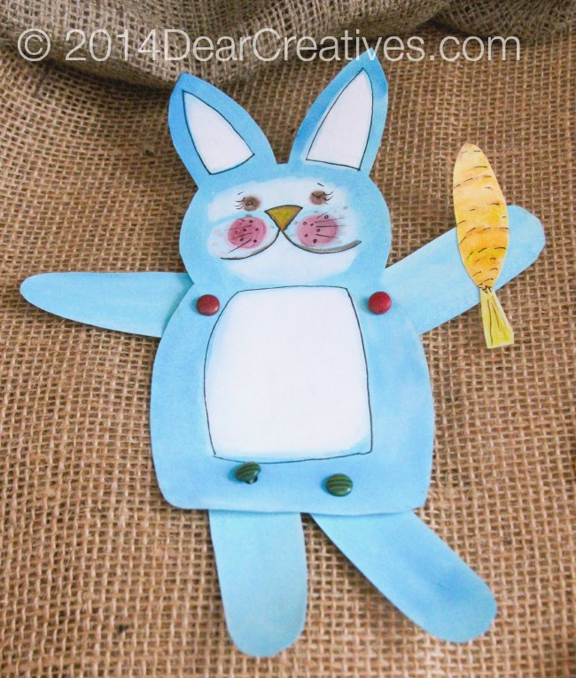 Hand Painted Bunny with a carrot_papercrafts