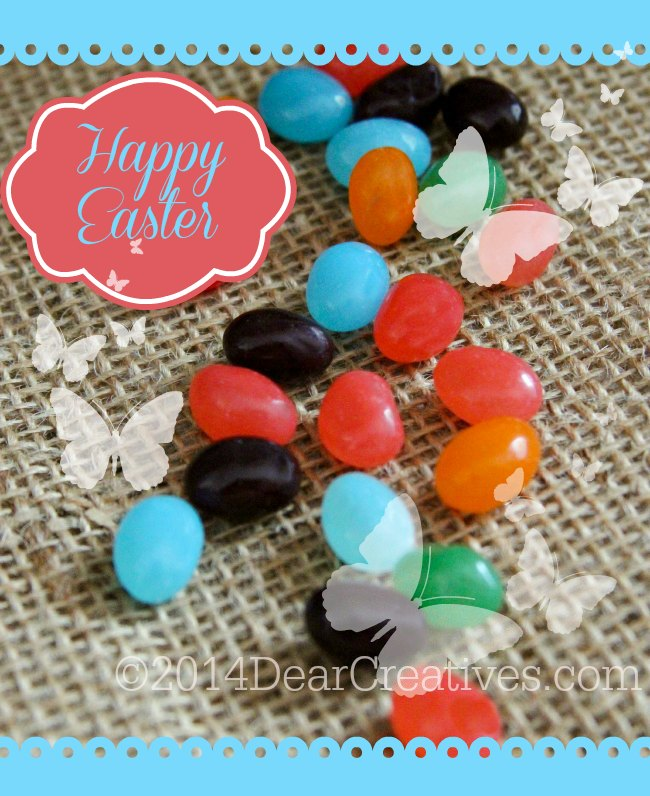 Happy Easter _butterflies and jelly beans _ jelly beans on burlap fabric_
