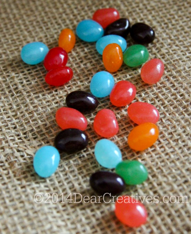 jelly beans _ jelly beans on burlap fabric_