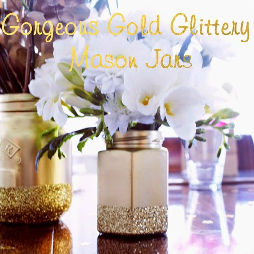 Gold-Glitter-Mason-Jars-Jars with flowers