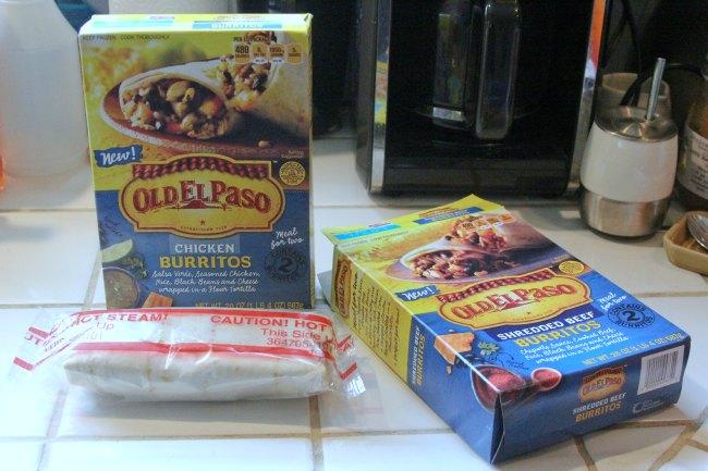 Old El Paso Burritos on kitchen counter