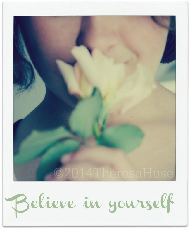 Believe in Yourself_girl smelling flower_