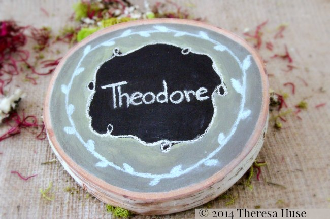 Chalkboard paint and name on wood round_ hand painted_