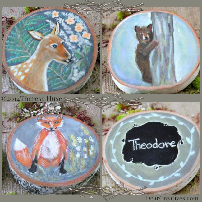 Deer_Fox_Bear_Woodland Paintings on Wood Rounds