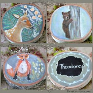 Deer_Fox_Bear_Woodland Paintings on Wood Rounds arts & crafts painting