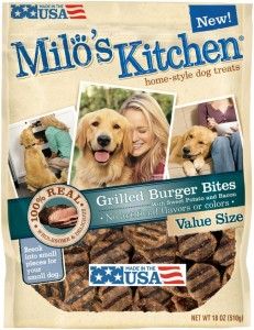 Milo's kitchen dog Treats Grilled Burger Bites