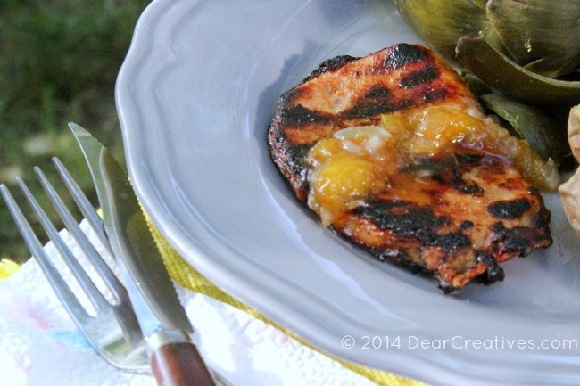 Grilled Recipe | Pork Chops with Peach honey glaze and peach topping