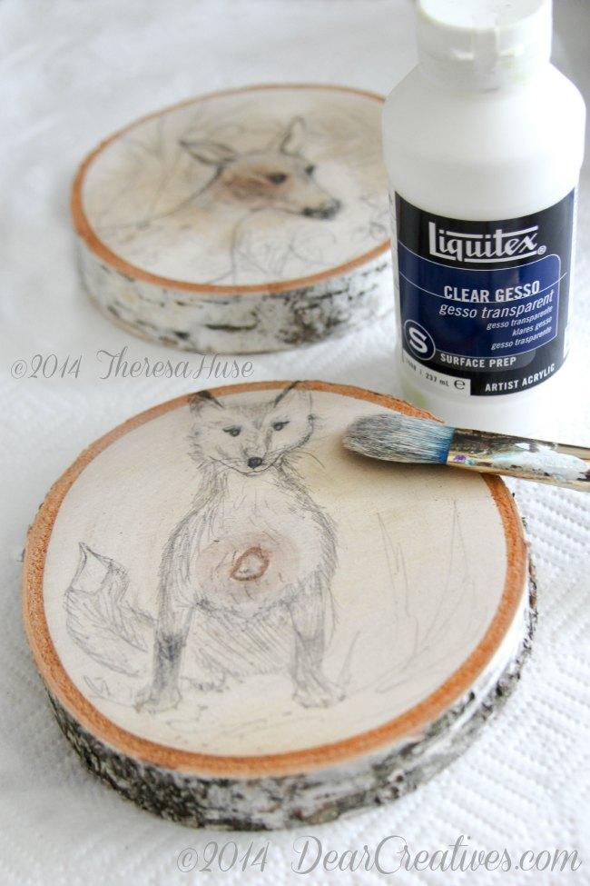 deer and fox drawing on wood roundsTheresa Huse 2014