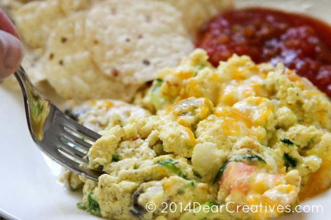 scrambled eggs with cheese and zucchini