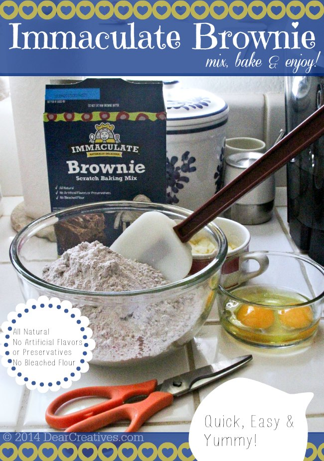 Immcaulate Brownie Mix ready to be mixed up_