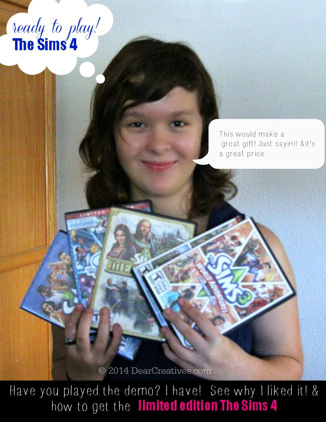 The Sims 4 Girl with Sims Games in her hand_The Sims 4 Review Image_