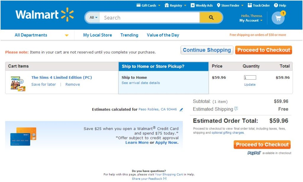 The Sims 4 at Walmart online Checkout