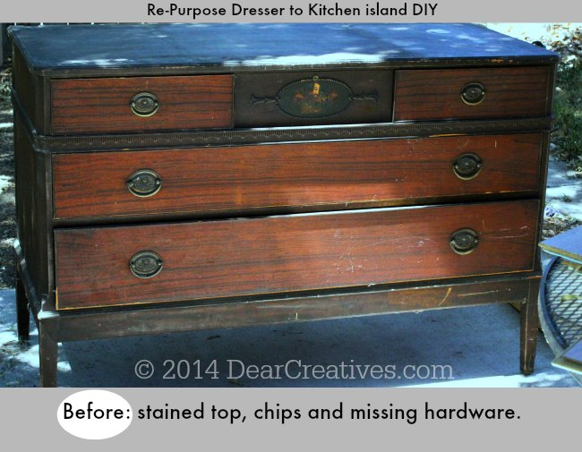 Before image of Dresser to Kitchen Island DIY_