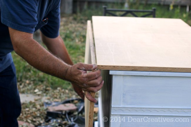 Dresser to Kitchen Island folding top being added_