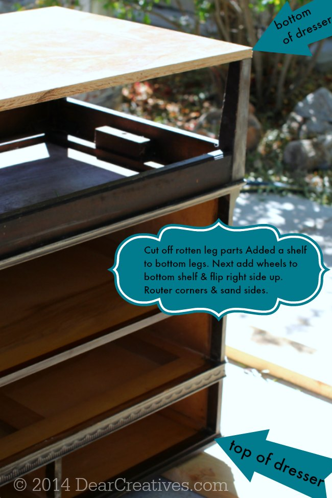 Image of Shelf being added to dresser to kitchen island conversion DIY project_
