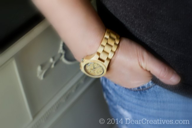 Jord Watch on woman s wrist with hand in jean pocket